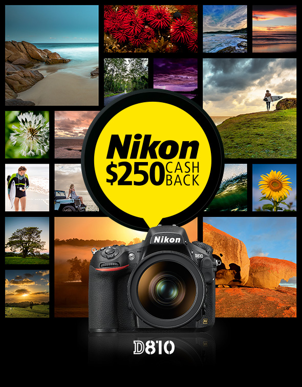 A special $250 cash back on the Nikon D810. Limited time only.